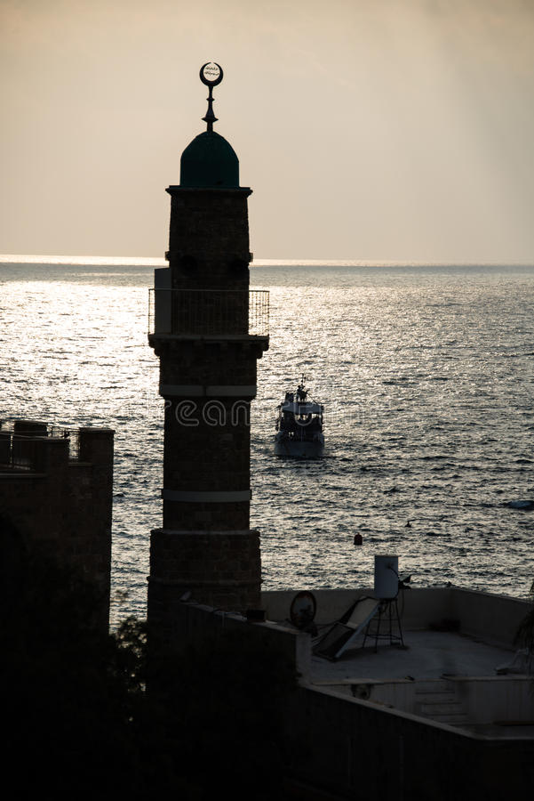 Μιναρές Al Bahr στο ηλιοβασίλεμα, Jaffa στοκ φωτογραφία με δικαίωμα ελεύθερης χρήσης