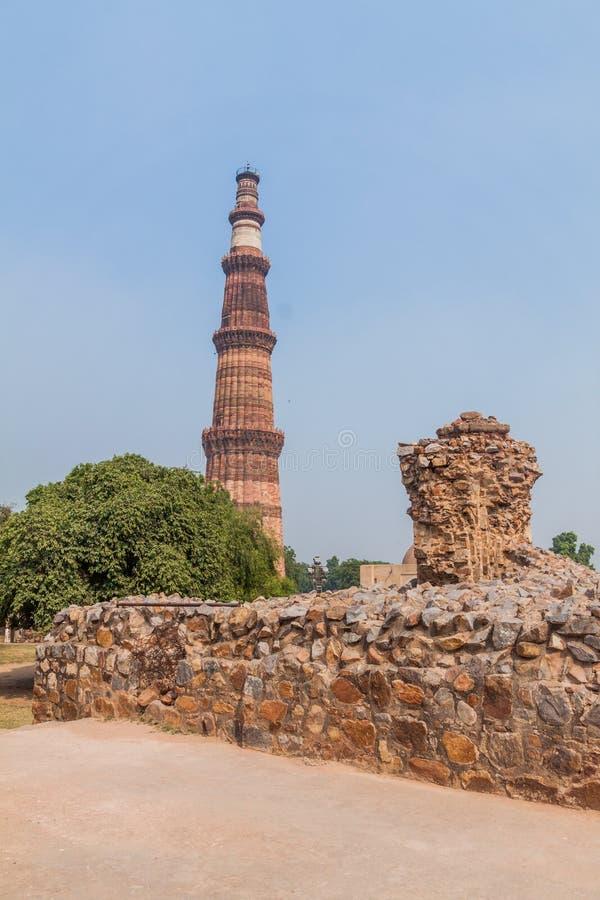 Μιναρές Minar Qutub στο Δελχί, Indi στοκ εικόνα με δικαίωμα ελεύθερης χρήσης