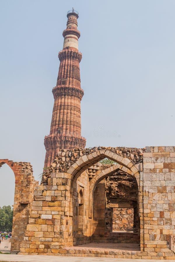 Μιναρές Minar Qutub στο Δελχί, Indi στοκ εικόνα