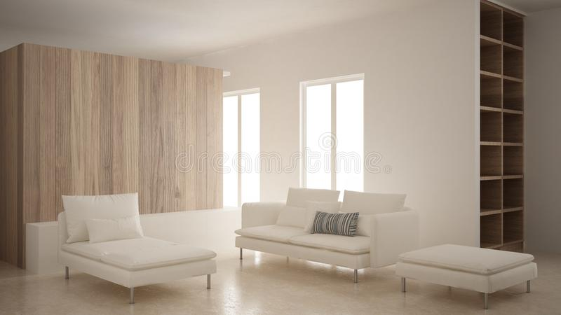 Μινιμαλισμός, σύγχρονο καθιστικό με τον ξύλινο τοίχο, καναπές, μόνιππο longue και μαξιλάρι πουφ, μαρμάρινο πάτωμα τραβερτινών, άσ στοκ εικόνες με δικαίωμα ελεύθερης χρήσης
