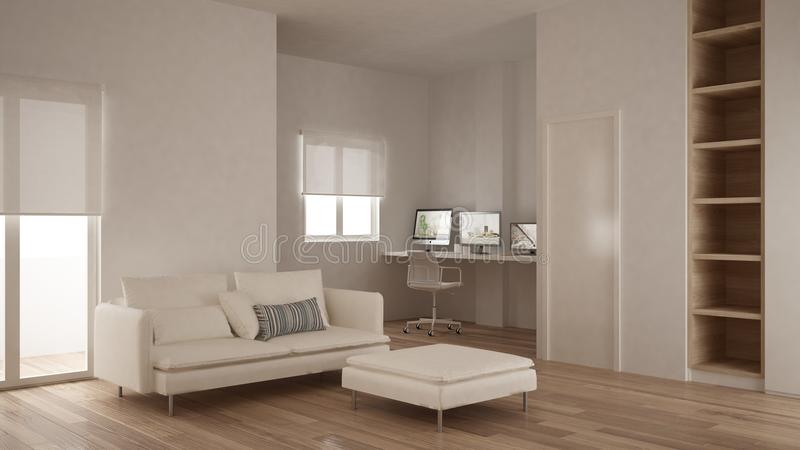 Μινιμαλισμός, σύγχρονο καθιστικό με το κενό ράφι, σχέδιο εγχώριων εργασιακών χώρων γωνιών, άσπρου και ξύλινου εσωτερικό, πατωμάτω στοκ φωτογραφία