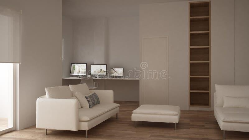 Μινιμαλισμός, σύγχρονο καθιστικό με το κενό ράφι, σχέδιο εγχώριων εργασιακών χώρων γωνιών, άσπρου και ξύλινου εσωτερικό, πατωμάτω στοκ εικόνες