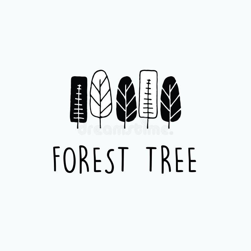 Μινιμαλιστικά και συρμένα χέρι σύνολα περιλήψεων δασικών δέντρων ελεύθερη απεικόνιση δικαιώματος