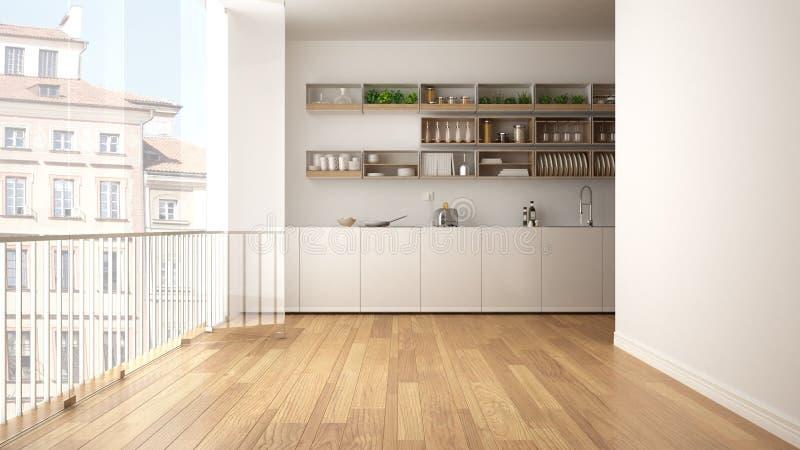 Μινιμαλιστική άσπρη και ξύλινη κουζίνα με το πάτωμα παρκέ και το μεγάλο πανοραμικό παράθυρο Πόλη, παλαιό πανόραμα κωμοπόλεων στο  στοκ εικόνα με δικαίωμα ελεύθερης χρήσης