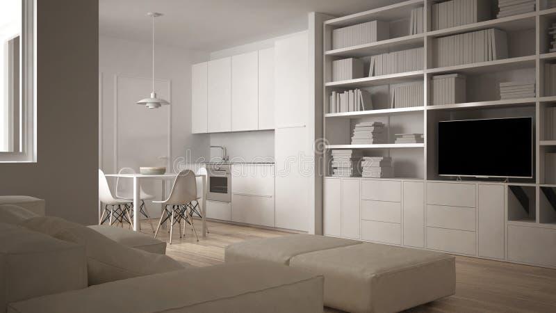 Μινιμαλιστικό καθιστικό με τον καναπέ, την κουζίνα, να δειπνήσει τον πίνακα και τις καρέκλες, μεγάλο παράθυρο, άσπρο σύγχρονο εσω απεικόνιση αποθεμάτων