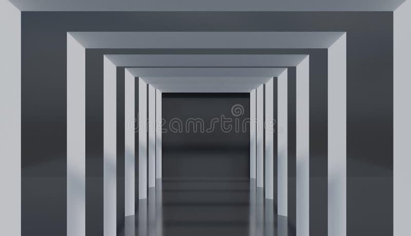 Μινιμαλιστικό τετραγωνικό ντεκόρ αρχιτεκτονικής, αφηρημένο σχέδιο σηράγγων στο λαμπρό πάτωμα ελεύθερη απεικόνιση δικαιώματος