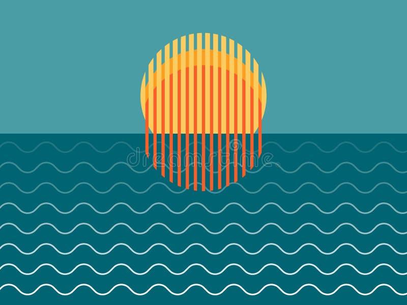 Μινιμαλιστικό όμορφο ηλιοβασίλεμα πέρα από τον ωκεανό στοκ εικόνα