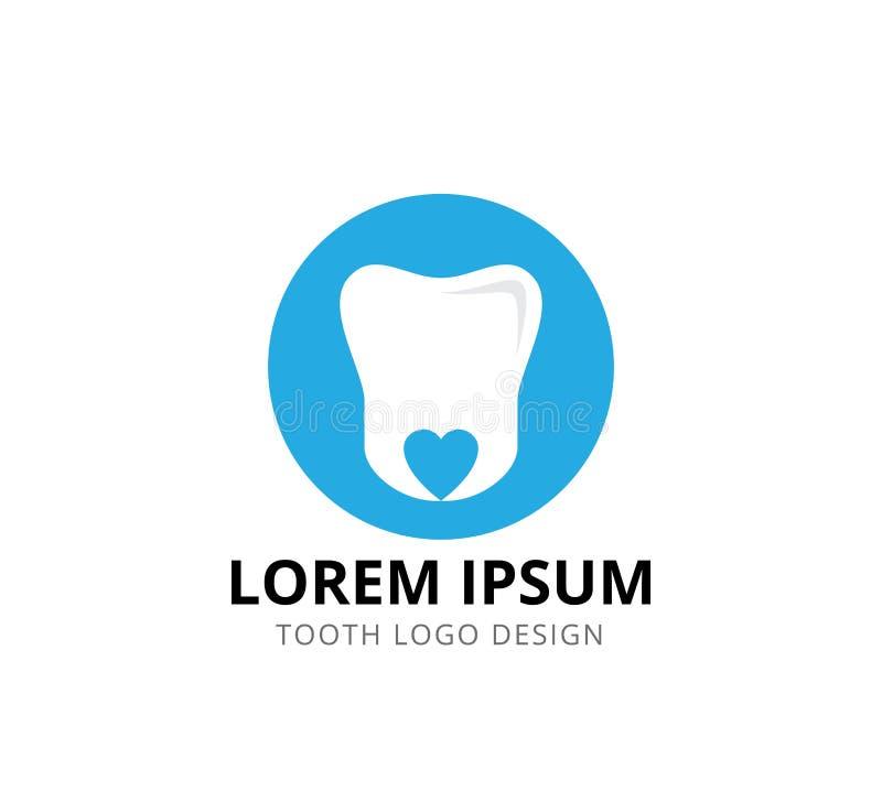 μινιμαλιστικό ύφος υγειονομικής περίθαλψης δοντιών οδοντικό με το διανυσματικό σχέδιο λογότυπων εικονιδίων ρίζας μορφής καρδιών διανυσματική απεικόνιση