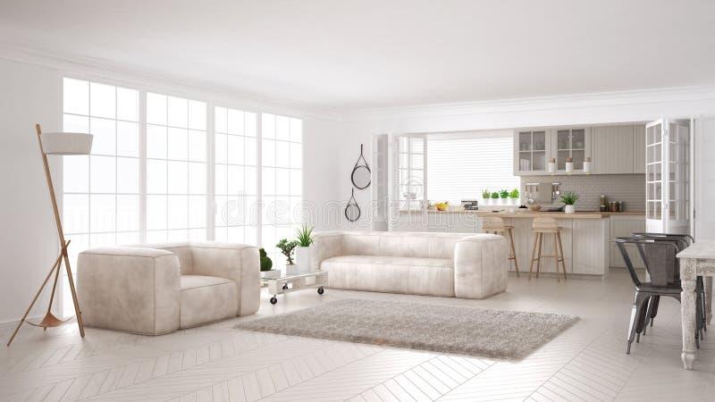 Μινιμαλιστική άσπρη διαβίωση και κουζίνα, Σκανδιναβικό κλασικό interi απεικόνιση αποθεμάτων