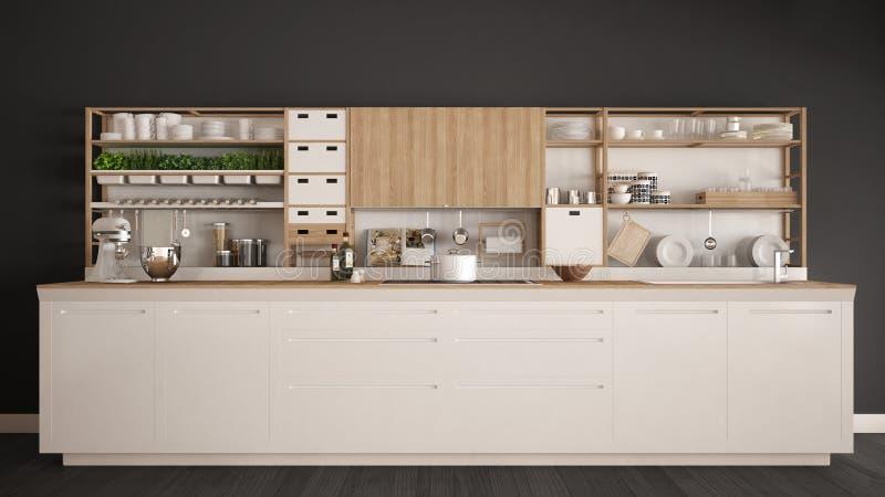 Μινιμαλιστική άσπρη ξύλινη κουζίνα με την κινηματογράφηση σε πρώτο πλάνο συσκευών, scandi απεικόνιση αποθεμάτων