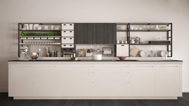 Μινιμαλιστική άσπρη ξύλινη κουζίνα με την κινηματογράφηση σε πρώτο πλάνο συσκευών, scandi ελεύθερη απεικόνιση δικαιώματος
