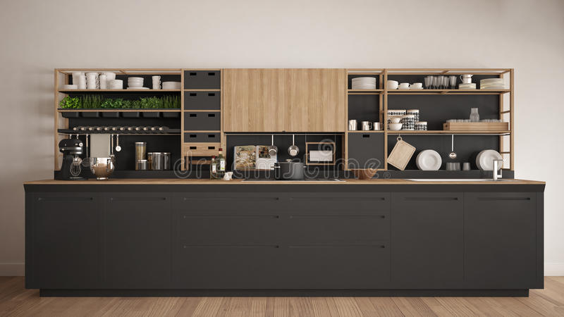 Μινιμαλιστική γκρίζα ξύλινη κουζίνα με την κινηματογράφηση σε πρώτο πλάνο συσκευών, scandin ελεύθερη απεικόνιση δικαιώματος