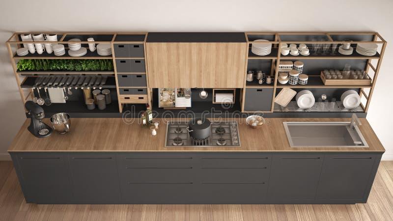 Μινιμαλιστική γκρίζα ξύλινη κουζίνα με την κινηματογράφηση σε πρώτο πλάνο συσκευών, scandin απεικόνιση αποθεμάτων