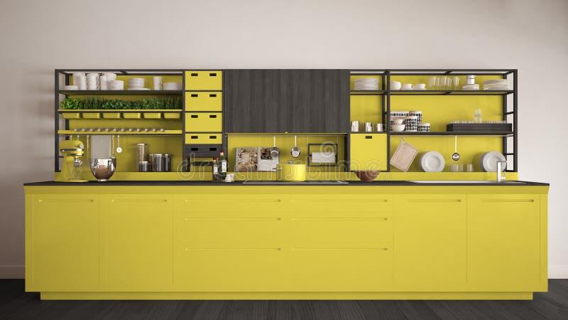 Μινιμαλιστική κίτρινη ξύλινη κουζίνα με την κινηματογράφηση σε πρώτο πλάνο συσκευών, scand ελεύθερη απεικόνιση δικαιώματος