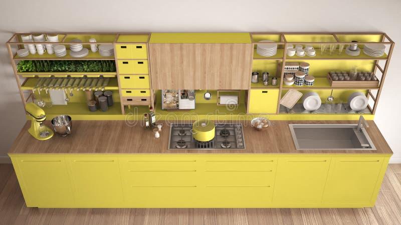 Μινιμαλιστική κίτρινη ξύλινη κουζίνα με την κινηματογράφηση σε πρώτο πλάνο συσκευών, scand διανυσματική απεικόνιση