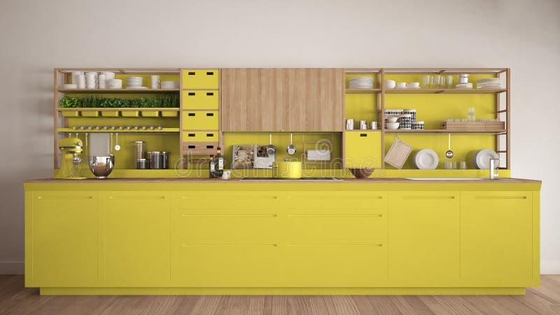 Μινιμαλιστική κίτρινη ξύλινη κουζίνα με την κινηματογράφηση σε πρώτο πλάνο συσκευών, scand απεικόνιση αποθεμάτων