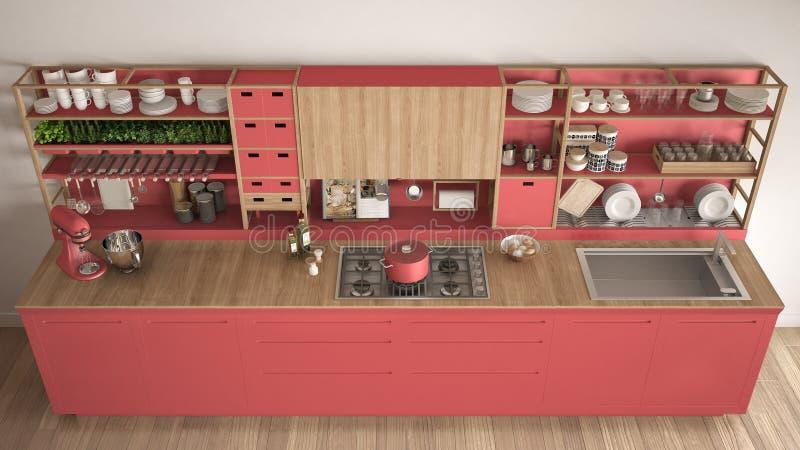 Μινιμαλιστική κόκκινη ξύλινη κουζίνα με την κινηματογράφηση σε πρώτο πλάνο συσκευών, scandina απεικόνιση αποθεμάτων