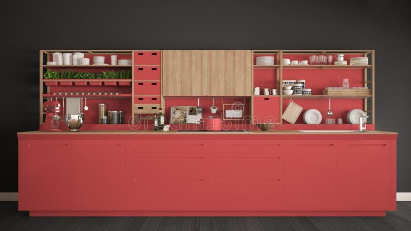 Μινιμαλιστική κόκκινη ξύλινη κουζίνα με την κινηματογράφηση σε πρώτο πλάνο συσκευών, scandina ελεύθερη απεικόνιση δικαιώματος