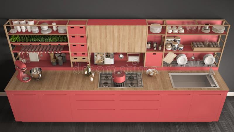 Μινιμαλιστική κόκκινη ξύλινη κουζίνα με την κινηματογράφηση σε πρώτο πλάνο συσκευών, scandina διανυσματική απεικόνιση