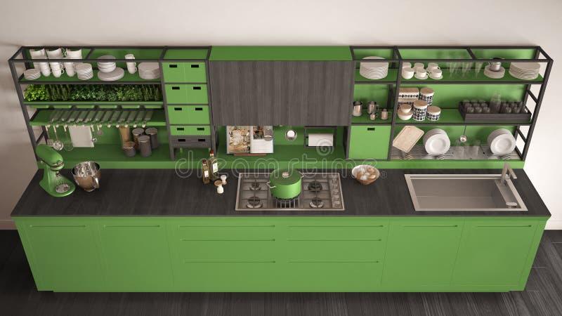 Μινιμαλιστική πράσινη ξύλινη κουζίνα με την κινηματογράφηση σε πρώτο πλάνο συσκευών, scandi απεικόνιση αποθεμάτων