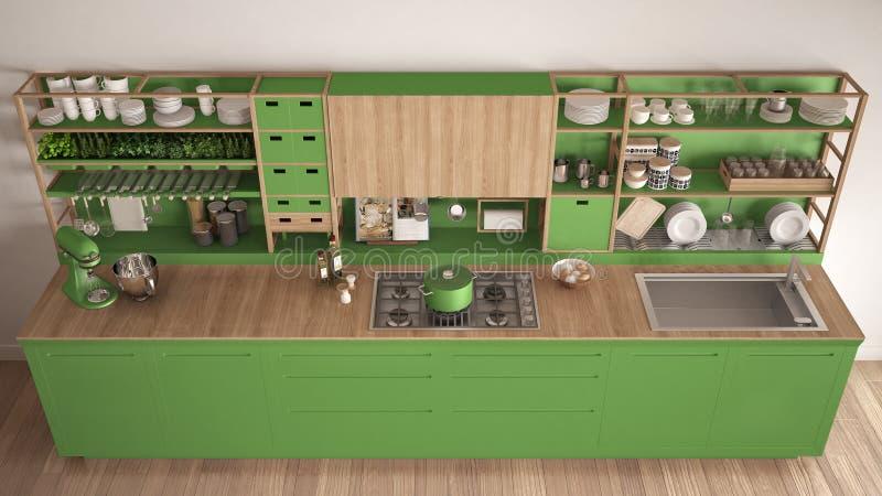 Μινιμαλιστική πράσινη ξύλινη κουζίνα με την κινηματογράφηση σε πρώτο πλάνο συσκευών, scandi ελεύθερη απεικόνιση δικαιώματος