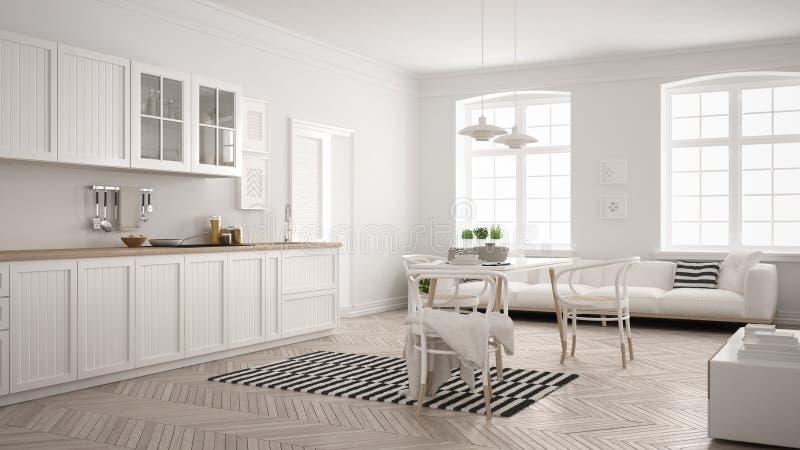 Μινιμαλιστική σύγχρονη κουζίνα με να δειπνήσει τον πίνακα και το καθιστικό, whi διανυσματική απεικόνιση