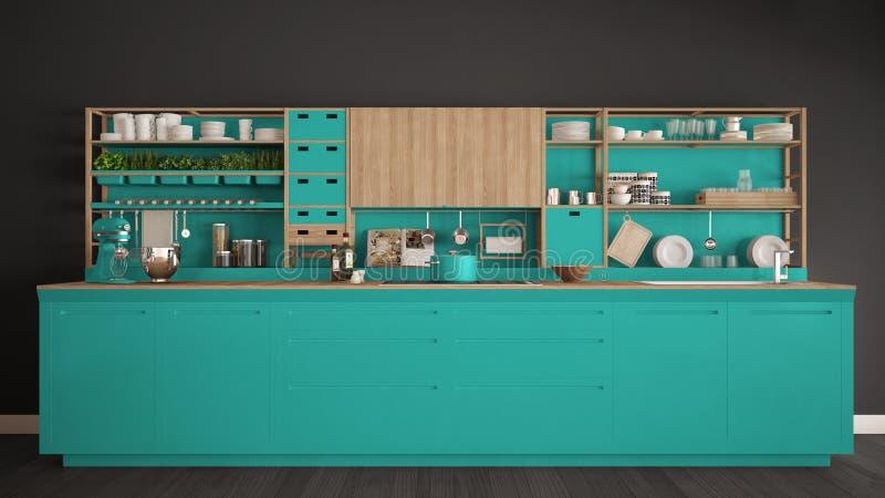 Μινιμαλιστική τυρκουάζ ξύλινη κουζίνα με την κινηματογράφηση σε πρώτο πλάνο συσκευών, Sc διανυσματική απεικόνιση