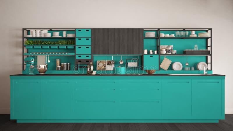 Μινιμαλιστική τυρκουάζ ξύλινη κουζίνα με την κινηματογράφηση σε πρώτο πλάνο συσκευών, Sc ελεύθερη απεικόνιση δικαιώματος