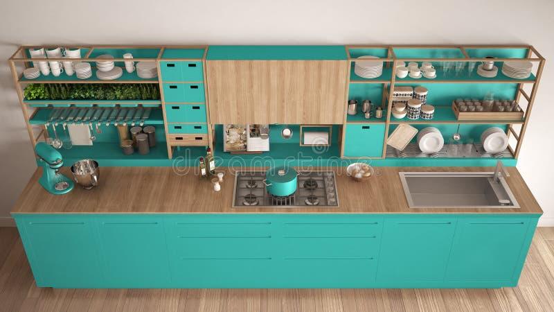 Μινιμαλιστική τυρκουάζ ξύλινη κουζίνα με την κινηματογράφηση σε πρώτο πλάνο συσκευών, Sc απεικόνιση αποθεμάτων