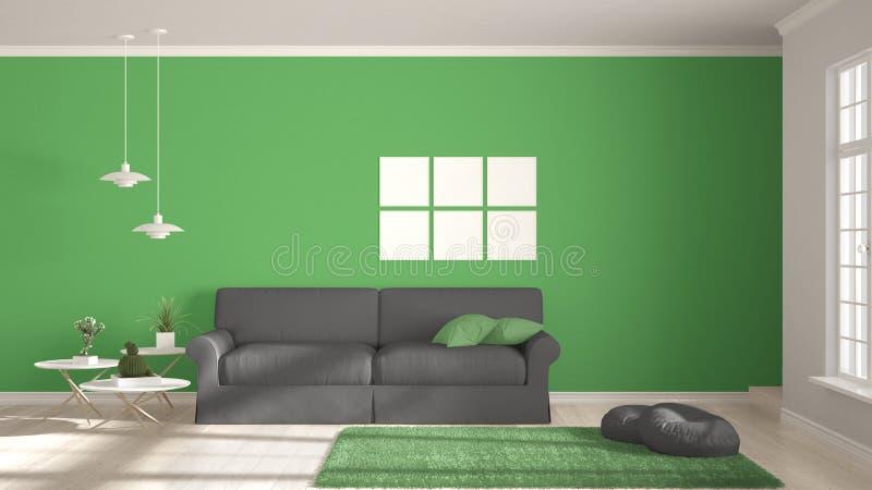 Μινιμαλιστικό δωμάτιο, απλή άσπρη, γκρίζα και πράσινη διαβίωση με τα μεγάλα WI διανυσματική απεικόνιση