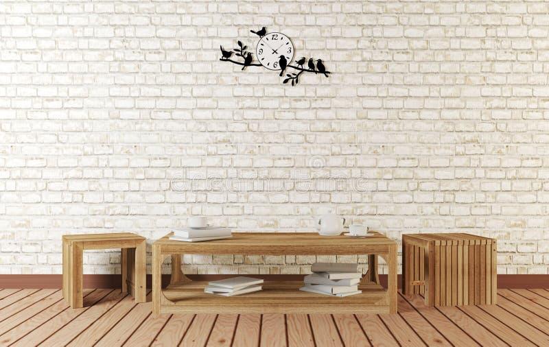 Μινιμαλιστικό δωμάτιο με τον απλούς σχεδιασμένους μακριούς πίνακα και τις καρέκλες διανυσματική απεικόνιση