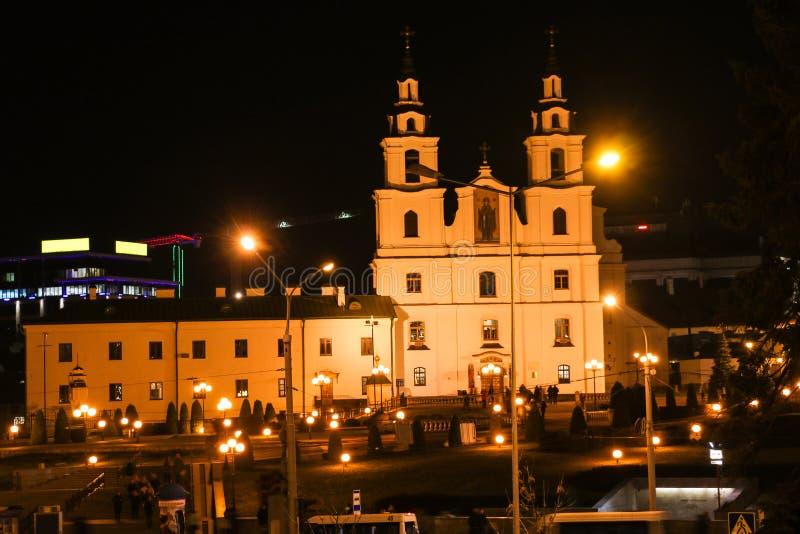 Μινσκ, Δημοκρατία της Λευκορωσίας - 18 Νοεμβρίου 2018, φθινόπωρο: Ο ναός της καθόδου του ιερού πνεύματος είναι η κύρια εκκλησία στοκ εικόνες