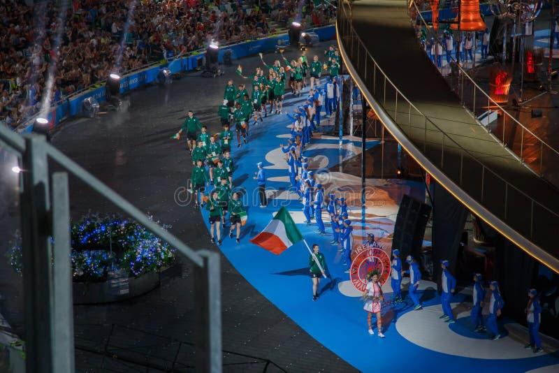 Μινσκ, Λευκορωσία 21 Ιουνίου 2019: Η εθνική ομάδα της Ιρλανδίας στη τελετή έναρξης των δεύτερων ευρωπαϊκών παιχνιδιών στο Μινσκ στοκ εικόνες με δικαίωμα ελεύθερης χρήσης