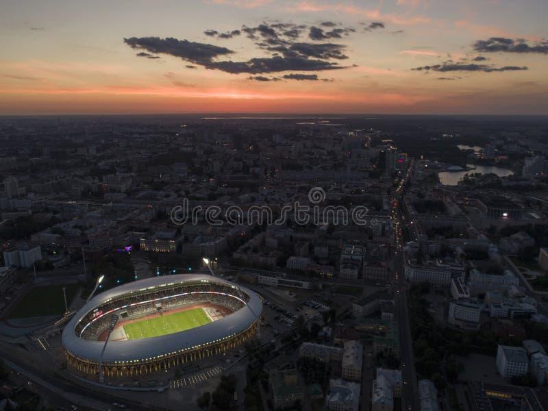 Μινσκ, Λευκορωσία, στις 14 Αυγούστου 2018 - το εθνικό ολυμπιακό στάδιο Dinamo είναι ένα για πολλές χρήσεις ποδόσφαιρο και ένα αθλ στοκ εικόνα με δικαίωμα ελεύθερης χρήσης