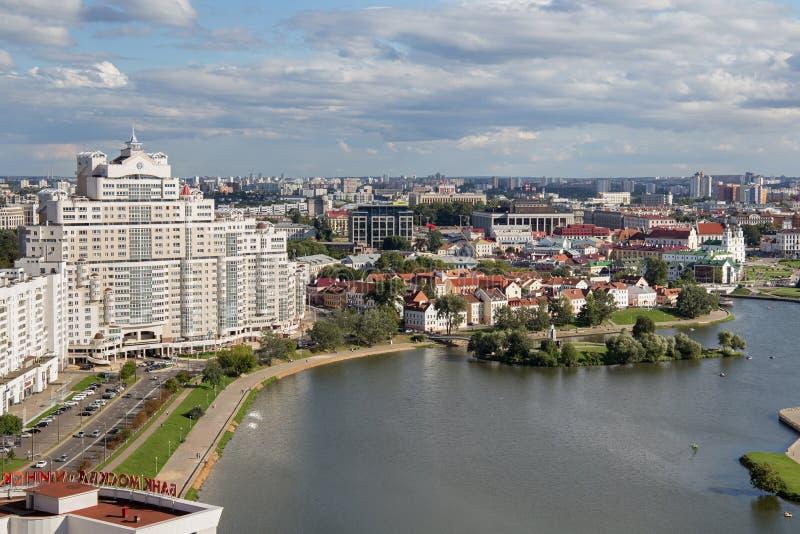 ΜΙΝΣΚ, ΛΕΥΚΟΡΩΣΙΑ - 15 ΑΥΓΟΎΣΤΟΥ 2016: Εναέρια άποψη του νότιου μέρους του Μινσκ στοκ εικόνα