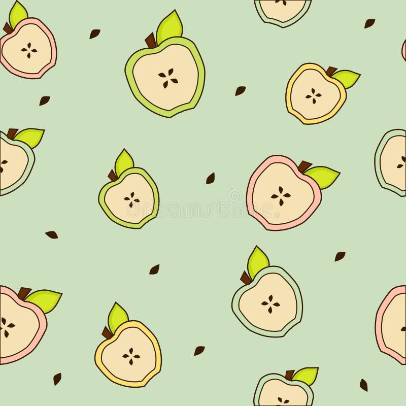Μισά της Apple με την άνευ ραφής σύσταση φύλλων απεικόνιση αποθεμάτων