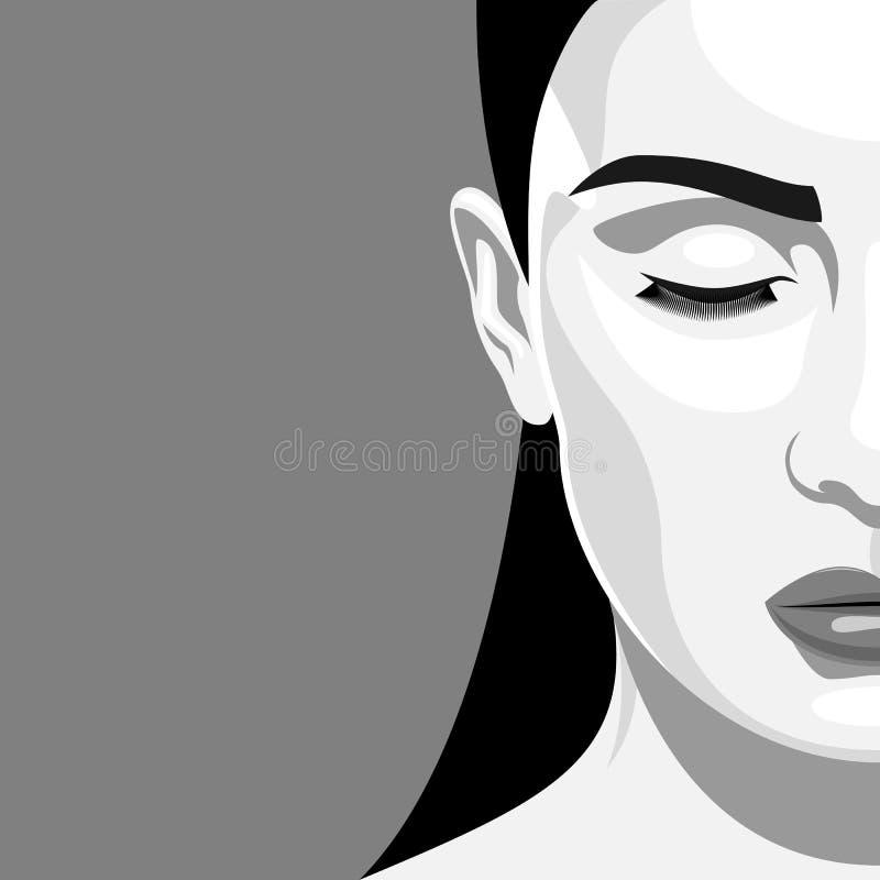Μισή γυναίκα ομορφιάς πορτρέτου προσώπου με τις ιδιαίτερες προσοχές διανυσματική απεικόνιση