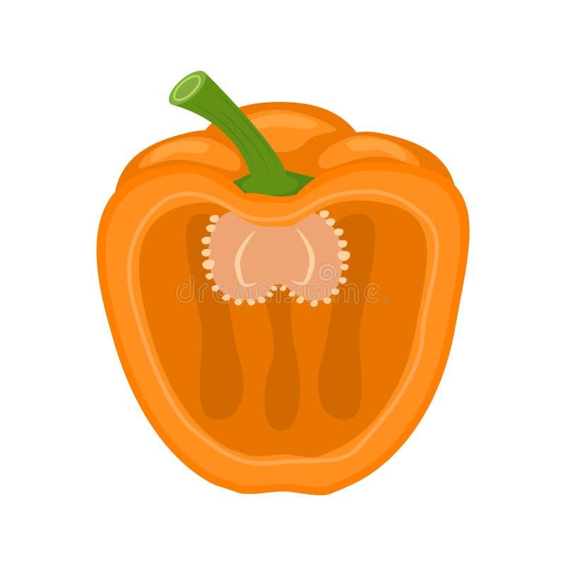 Μισή πορτοκαλιά διανυσματική απεικόνιση πιπεριών κουδουνιών που απομονώνεται στο άσπρο BA απεικόνιση αποθεμάτων