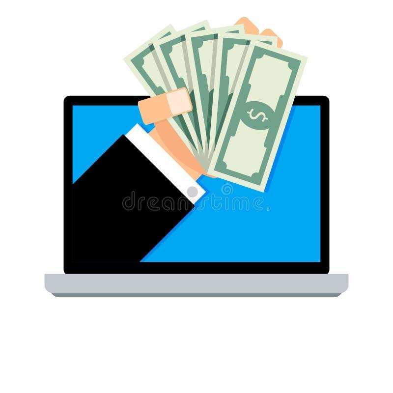 Μισθός on-line, τραπεζογραμμάτιο συναλλαγής οικονομικό από το lap-top διανυσματική απεικόνιση