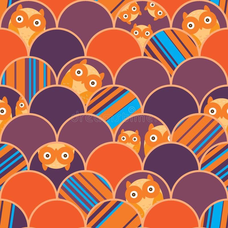 Μισό άγνωστο πορτοκαλί άνευ ραφής σχέδιο κουκουβαγιών κύκλων ελεύθερη απεικόνιση δικαιώματος