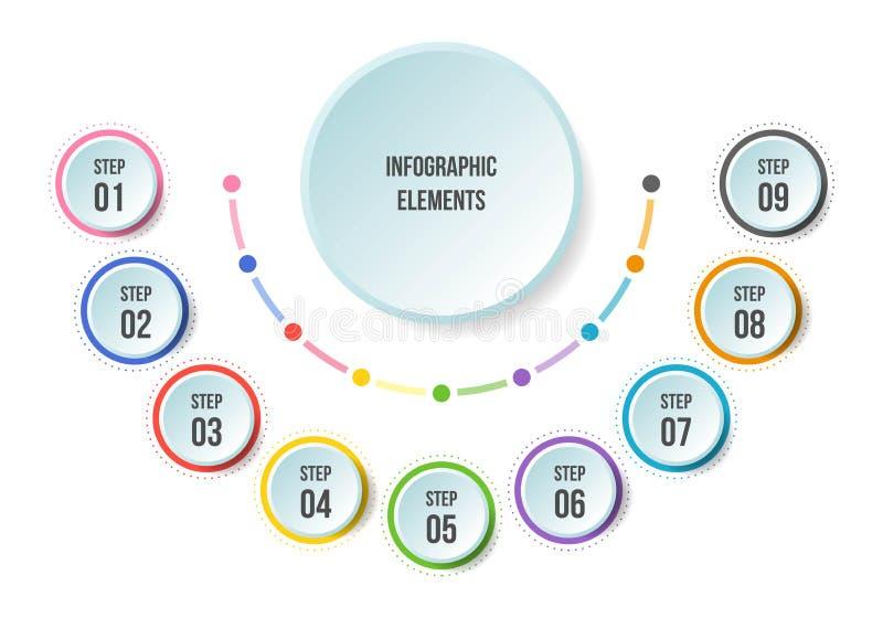 Μισό διάγραμμα κύκλων, infographic πρότυπα υπόδειξης ως προς το χρόνο διανυσματική απεικόνιση
