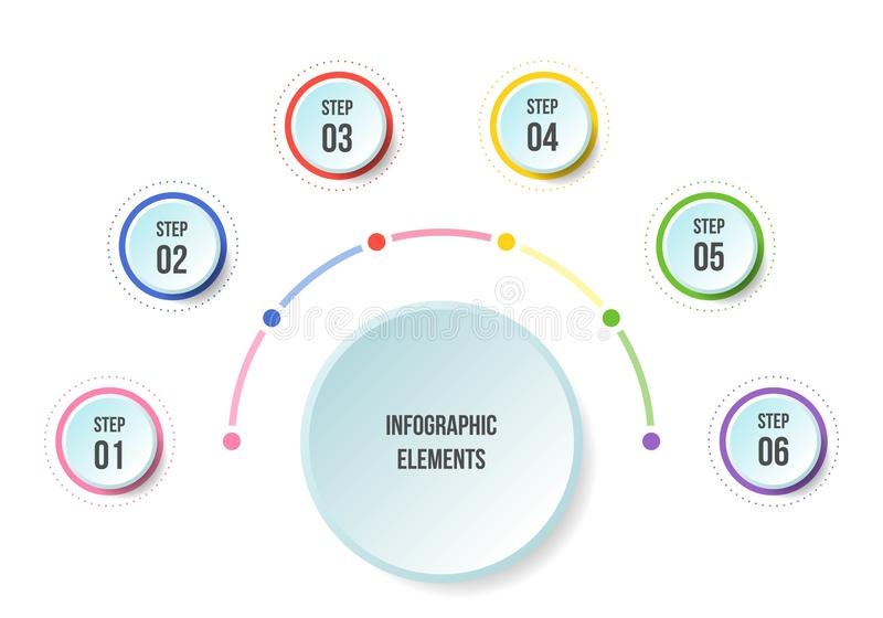 Μισό διάγραμμα κύκλων, infographic πρότυπα υπόδειξης ως προς το χρόνο απεικόνιση αποθεμάτων