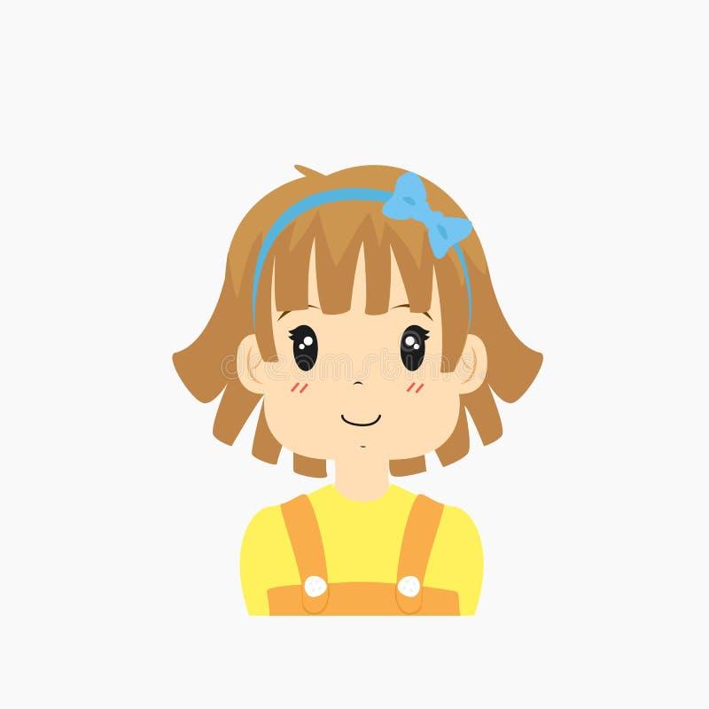 Μισό διάνυσμα μικρών κοριτσιών σώματος διανυσματική απεικόνιση
