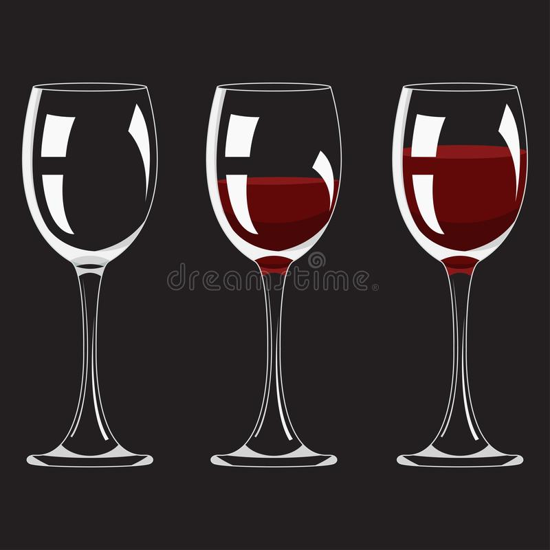 Μισό και πλήρες γυαλί και με το καθορισμένο ρεαλιστικό κενό ποτό οινοπνεύματος κόκκινου κρασιού διάνυσμα διανυσματική απεικόνιση