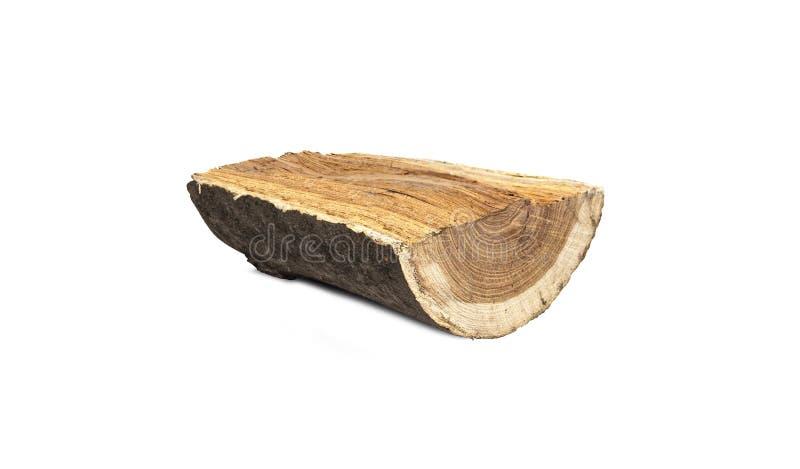 Μισό ξύλινο κούτσουρο περικοπών, που απομονώνεται στο άσπρο υπόβαθρο στοκ εικόνες