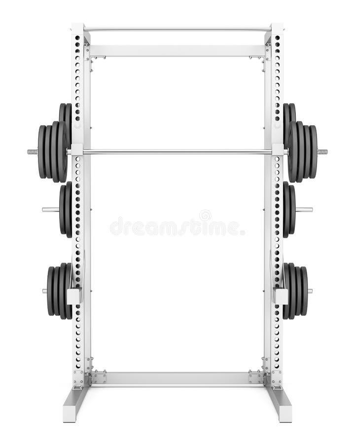 Μισό ράφι γυμναστικής με το barbell που απομονώνεται στο λευκό διανυσματική απεικόνιση