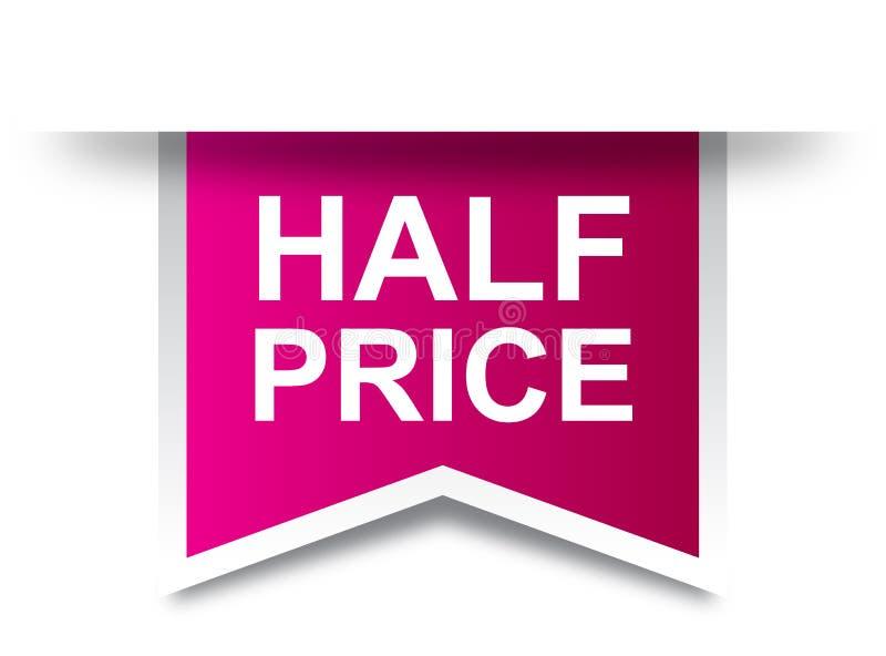 Μισό ροζ ετικετών τιμών διανυσματική απεικόνιση