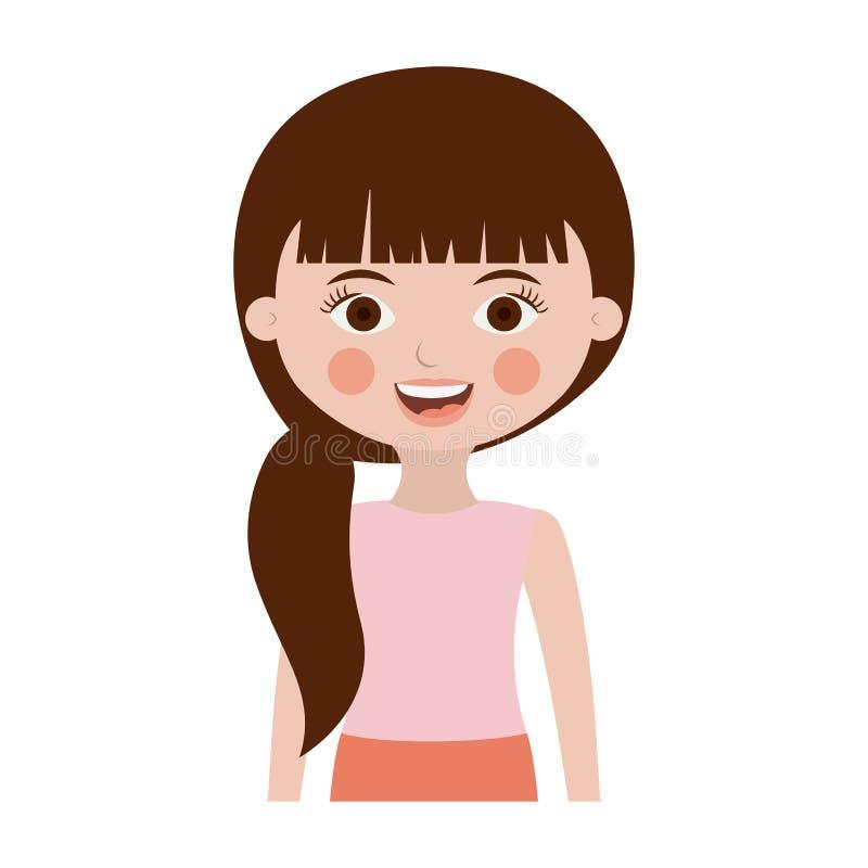 Μισό χαριτωμένο κορίτσι σωμάτων με την πλευρά ponytail διανυσματική απεικόνιση