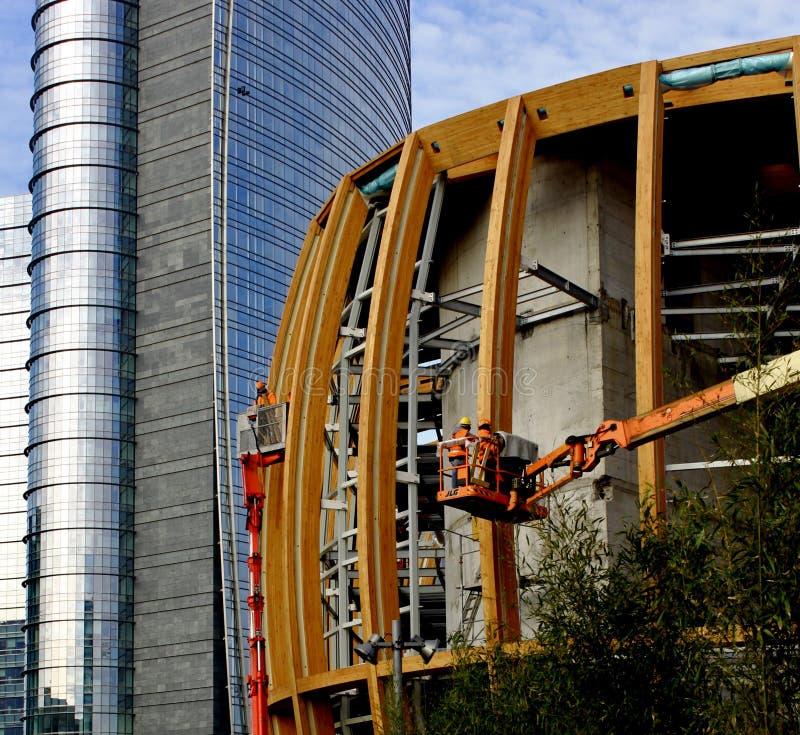 Μιλάνο Ιταλία, unicredit pavillon κάτω από την κατασκευή στοκ φωτογραφία με δικαίωμα ελεύθερης χρήσης