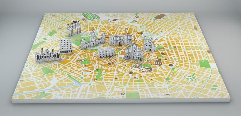 Μιλάνο, δορυφορική άποψη, χάρτης και μνημεία που σχεδιάζονται με το χέρι ελεύθερη απεικόνιση δικαιώματος
